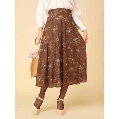 スカート カラーラインフラワースカート