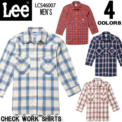 Leeメンズウエスタンチェック七分袖シャツ【全4色】S〜XXL/LCS46007