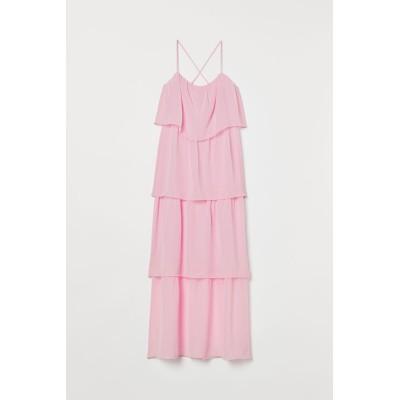 H&M - ティアードマキシワンピース - ピンク