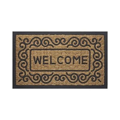 Scrolls Design Welcome Coco Doormat Beige-Black 18x30