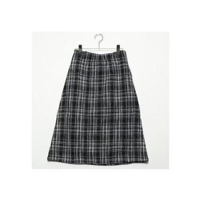 スタイルブロック STYLEBLOCK オーバーチェックフロントジップスカート (グレー)