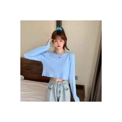 【送料無料】秋服 女 韓国風 丸襟 キクラゲなようなエッジ カラー 何でも似合う 短 | 364331_A63555-7859653