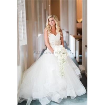 ウェディングドレス/ステージ衣装 魅力的なAラインオーガンジーVネックウェディングドレスホワイト/アイボリーフリルNEWブライダルドレス