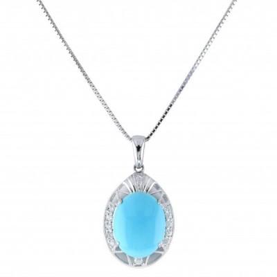 K18WG ホワイトゴールド トルコ石 ダイヤモンド ネックレス/ペンダント ピアス