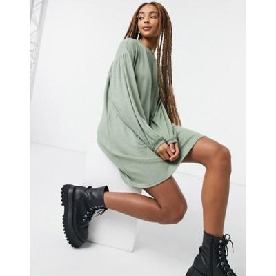 エイソス レディース ワンピース トップス ASOS DESIGN long balloon sleeve mini dress in super soft sage green