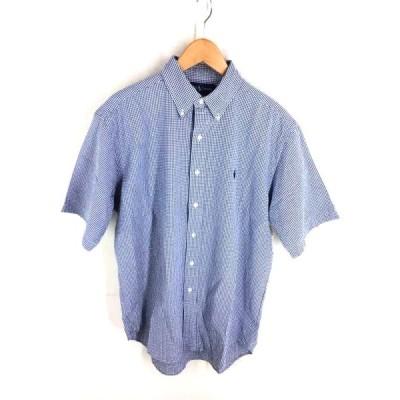 ラルフローレン RALPH LAUREN 半袖チェック柄ボタンダウンシャツ メンズ M 中古 210203