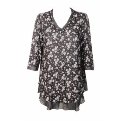 ファッション ドレス Estilo Co Talla Grande Estampado Negro Gris Floral Sheer-Hem Tres Cuartos Top