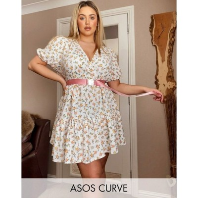 エイソス レディース ワンピース トップス ASOS DESIGN curve mini smock dress with v neck in floral print