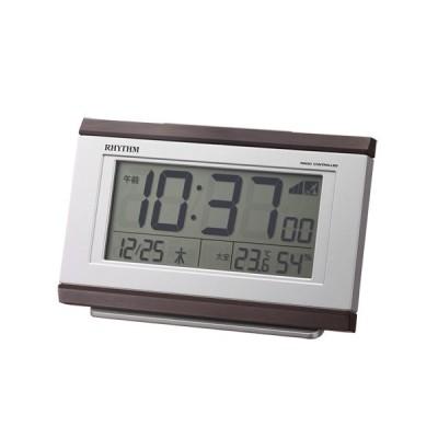 リズム時計 電波目覚まし時計/フィットウェーブ D161 温湿度計付/茶色木目調 こげ茶 8RZ161SR06(取)