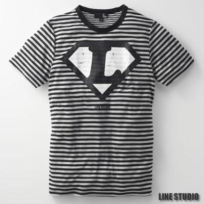 新品 激安 ユニ ボーダー柄ラインマンTシャツ 60104 ブラック