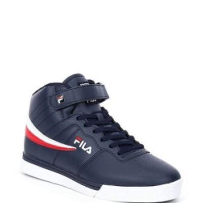 フィラ メンズ スニーカー シューズ Men's Vulc 13 Hi Top Sneakers FILA Navy/White/FILA Red