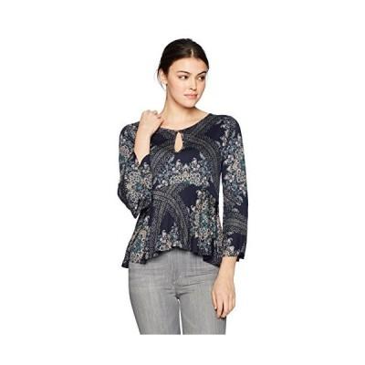 Lucky Brand Women's Printed Bell Sleeve Top, Navy Multi, S