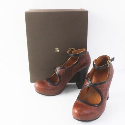 CHIE MIHARA チエミハラ オーストリッチ ストラップ パンプス 38/ブラウン 靴 シューズ くつ 2400011548016