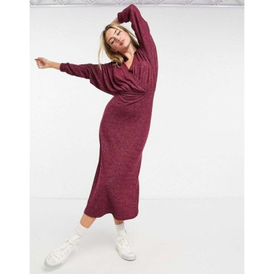 エイソス ミディドレス レディース ASOS DESIGN super soft midi wrap dress with collar in merlot エイソス ASOS