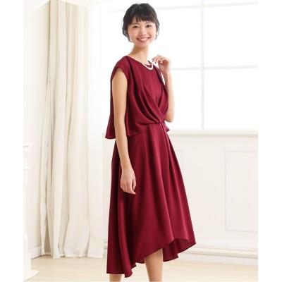 ウエストタックイレギュラーヘムワンピース(ネックレス付) 【謝恩会・パーティドレス】Dress