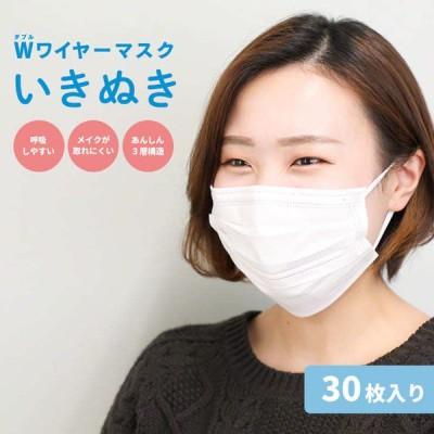 マスク 不織布 30枚 息がしやすい  Wワイヤー メイク メイク崩れしにくい 使い捨て 白 大人 立体 使い捨てマスク 大人用 個包装 男女兼用 ワイヤー