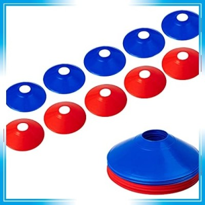 マーカーコーン カラーコーン マーカーディスク サッカー/フットサル用 カラーコーン 青と赤 10枚セット収納袋