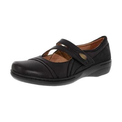 フラットシューズ クラークス Clarks レディース Evianna Crown アンクル レザー フラット シューズ Black Leather