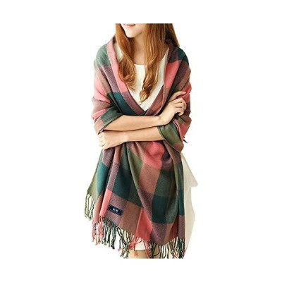 マフラー ストール スカーフ ブランケット  防寒 保温 暖かい ピンクxグリーン・チェック