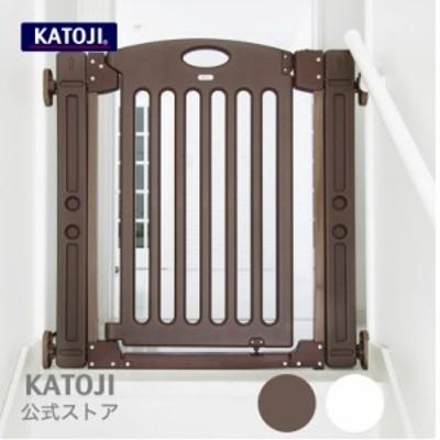 ベビーゲート|階段上で使えるゲート[ホワイト/ブラウン]【拡張(追加)フレーム2個付き】 カトージ