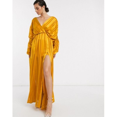 エイソス マキシドレス レディース ASOS DESIGN chain insert maxi dress in Yellow satin stripe エイソス ASOS