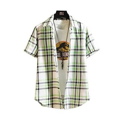 Senneak カジュアルシャツ メンズ 半袖 チェックシャツ 夏 大きいサイズ M-4XL