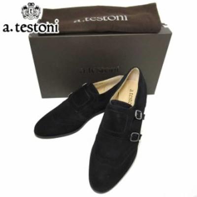 ●6サイズあり● ア テストーニ ブティック A.TESTONI シューズ F600019CA-97492-AEB スウェード ダブルバックル シューズ / 靴 DOUBLE B