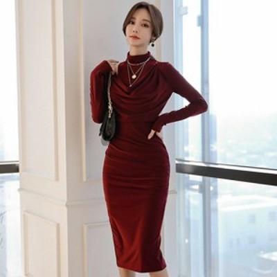 キャバ ドレス キャバドレス ワンピース ミディアムドレス 長袖 シック ハイネック ゆったり 大人 ドレープ レイヤード ワインレッド S M