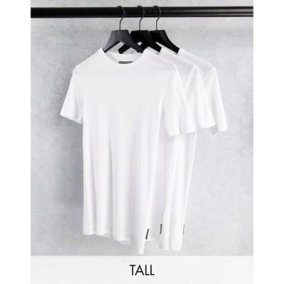 フレンチコネクション French Connection メンズ Tシャツ 3点セット トップス Tall 3 pack lounge t-shirt in white