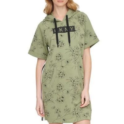 ダナ キャラン ニューヨーク レディース ワンピース トップス Sport Logo Poppy Print Short Sleeve Hooded Sneaker Dress Olive