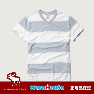 【S M L XL XXL サイズ】アバクロ Tシャツ 青 白 ホワイト STRIPED V NECK TEE