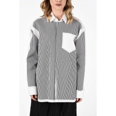MAISON MARGIELA/メゾン マルジェラ Black & White レディース MM4 Striped Oversize Shirt dk