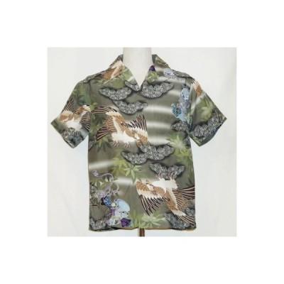 SSA14-02-グリーン-和柄ハワイアンシャツ14-02-SSA1402-SAMURAIJEANS-サムライジーンズハワイアンシャツ・サムライジーンズシャツ