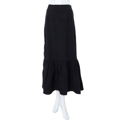 フィフス fifth 裾切り替えワッシャーフレアスカート (ブラック)