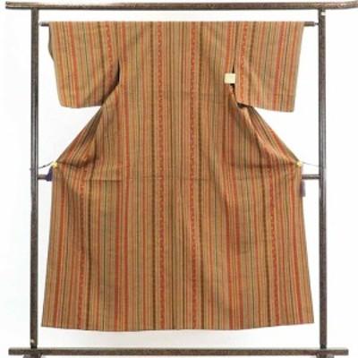【中古】リサイクル着物 紬 / 正絹茶色地縦縞単衣紬着物 / レディース【裄Sサイズ】