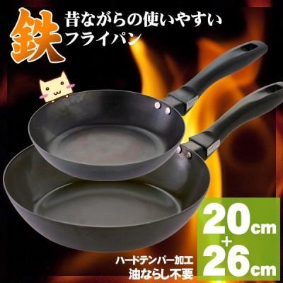 鉄 フライパンセット 20cm 26cm すぐ使える 使いやすい鉄フライパン 送料無料 北海道沖縄離島+600円