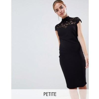 シティゴッデス レディース ワンピース ワンピース・ドレス City Goddess Petite Open Back Midi Dress With Lace Insert Black