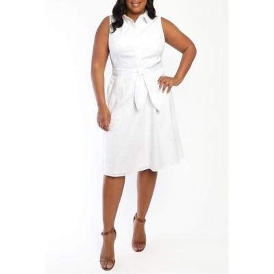 ロンドンタイムス レディース ワンピース トップス Sleeveless Poplin Shirt Dress WHITE