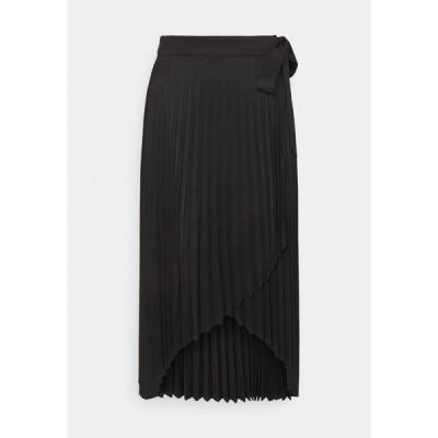エヌ エー ケイ ディ スカート レディース ボトムス WRAP PLEATED MIDI SKIRT - A-line skirt - black