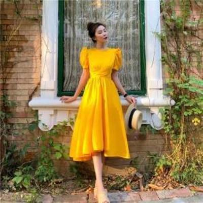 ドレス ワンピース ロング丈 半袖 20代 黒 イエロー グリーン 白 フレア リボン フォーマル 上品 春夏 結婚式 お呼ばれ a468