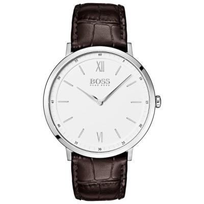 ボス 腕時計 アクセサリー レディース Hugo Boss Men's Essential Ultra Slim Brown Leather Strap Watch 40mm White