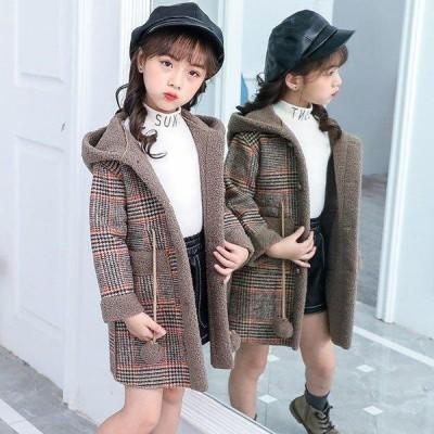 子供服女の子子供コートキッズ冬厚手裏起毛アウターモッズコートロングコートキッズコート冬コートチェックフード付きおしやれ暖かい防寒新品