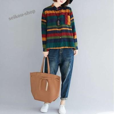 シャツ ブラウス レディース 長袖 秋 冬 チェックシャツ 羽織 秋物 秋服 ゆったり 大きいサイズ トップス