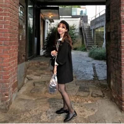 ワンピース フレンチ レトロ ドレス かわいい 無地 丸襟 リボン ガーリー 女学生 学生風 セーラー服 通学 デート モノトーン 大きな襟