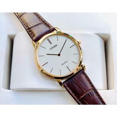 シチズン 腕時計 Citizen AR1113-12A Men Water Resistant Gold Toned Brown Leather Strap Watch