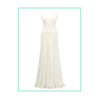 Alicepub Spaghetti Lace Bridesmaid Dress Long V-Neck Bridal Party Dress Evening Gown, Ivory, US20並行輸入品