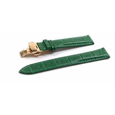 腕時計 ベルト 16mm 17mm 18mm 19mm 20mm 21mm 22mm 24mm レザー クロコダイル型押し 牛 革 緑  プッシュ式 Dバックル ピンク ゴールド l