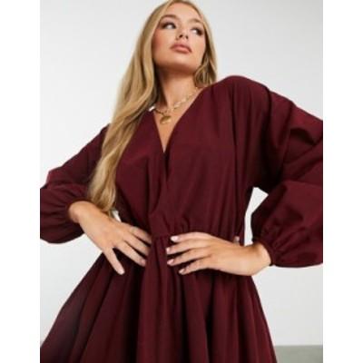 エイソス レディース ワンピース トップス ASOS DESIGN casual cotton poplin wrap front mini smock dress in oxblood Oxblood