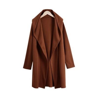 カーディガンレディース2020春ロングブラックグレーブラウン体型カバーポケット付きフード付き
