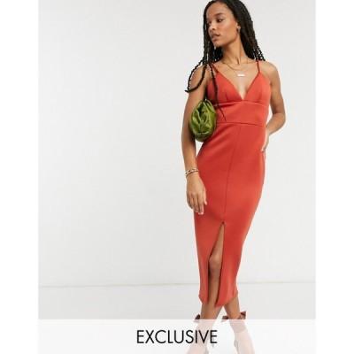 トゥルーヴァイオレット True Violet レディース ボディコンドレス ミドル丈 Exclusive Bodycon Midi Dress With Front Split In Burnt Orange